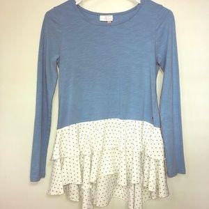 Matilda Jane | size 14 | blue ruffle shirt